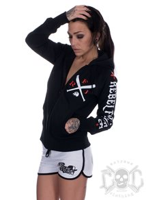 Rebel For Life Bat Women Hoodie, Svart