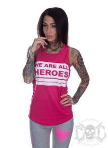 Bikergirl We Are All Heroes Sport Linne, Rosa